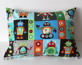 Nursery Pillow Cover- Robot Nursery Pillow- Robot Nursery Bedding- Robot Theme- Outerspace Nursery Pillow- Baby Boy Nursery- Robots Planets
