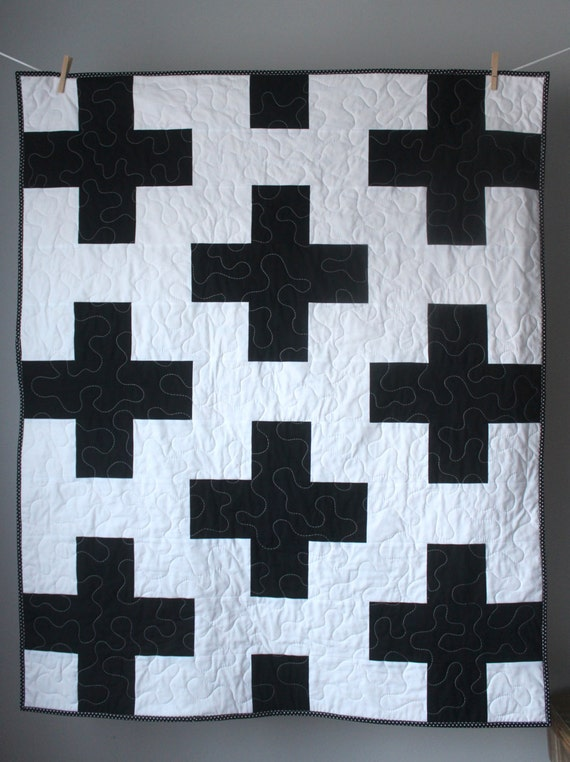 Toddler Quilt Plus Baby Quilt Black And White Baby Etsy