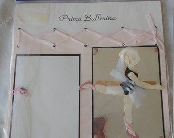 Prima Ballerina  12 x 12 Pre-Made Page Spread, Double Pages, Embellished, Wilton, Just Ginger Craft Supplies for Photo Framing, Scrapbooking