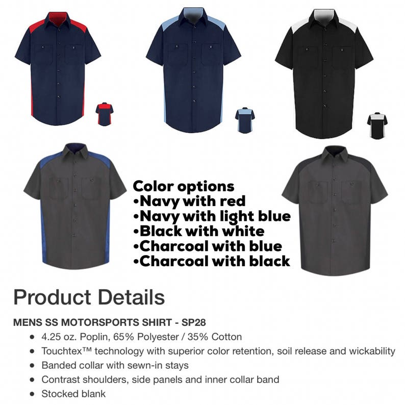 20b90ce9a6b3 Two Tone Custom Work Shirts Customized with your logo and