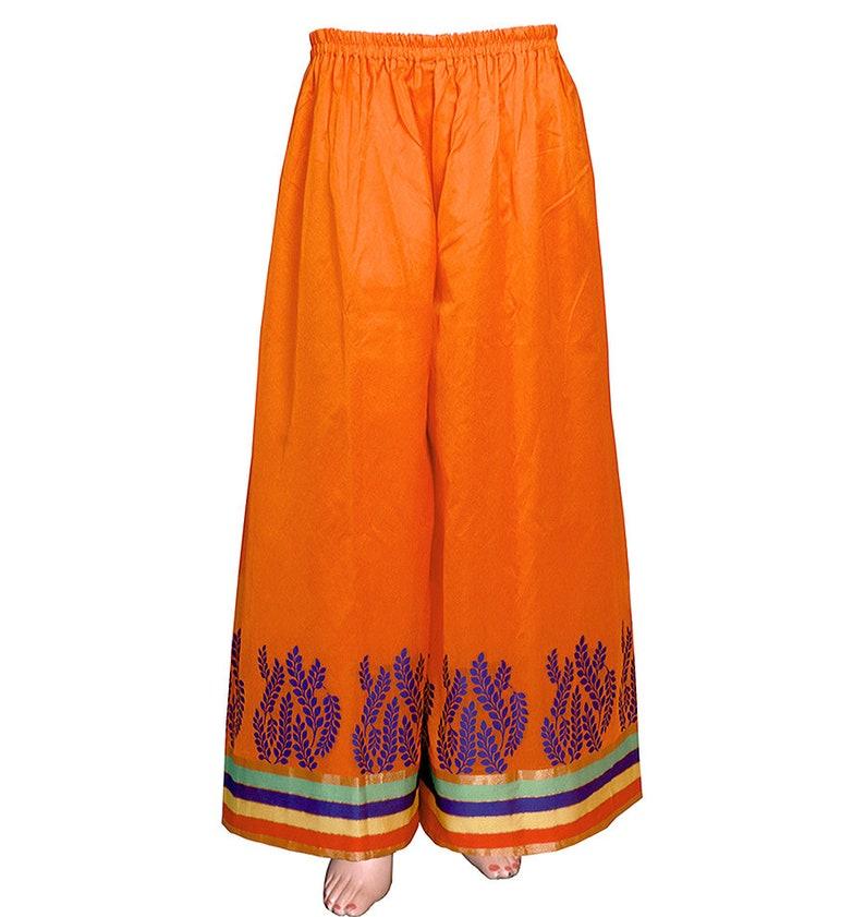 Red-orange Color Handloom Art-silk Boho Styled wide lagged Palazzo Pants MPP1573007
