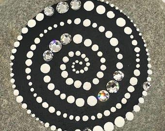Stunning but Simple.  Hand-Painted Monochrome Mandala/Meditation Stone embellished with beautiful Swarovski Crystals