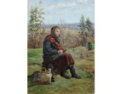 ANTIQUE ORIGINAL Oil PAINTING quot Forester 39 s daughter quot by Soviet artist A.Puzyrevich 1952 Girl in the forest, Woman painting, Socialist Realism