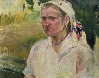 """FEMALE PORTRAIT ORIGINAL Oil Vintage Painting by A.Zakharov 23,8""""x17,5"""" Woman's Portrait, Soviet Ukrainian Russian antique handmade painting"""