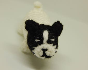 French Bulldog; Stuffed Baby Puppy; Handmade Mini Pet; Black and White; Crocheted Puppy; Valentine's Day Gift; Gift for Her; Ready to Ship