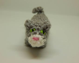 Mini Cat; Stuffed Gray Kitty; Handmade Miniature Cat; Crocheted Kitty; Valentine's Day Gift; Gift for Her; Gift for Him; Ready to Ship