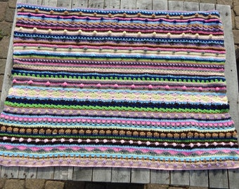 Sampler Baby Blanket; Bright Multi-Colored Blanket; Crochet Textured Baby Afghan; Large Baby Blanket; Boy or Girl Gift; Handmade by Anna