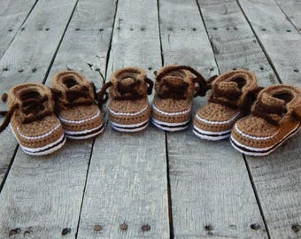 Baby Forrester Boots; Crocheted Baby Booties; Baby Hiking Boots; Boy Baby Shower Gift; Handmade Baby Shoes; 12-18 Months