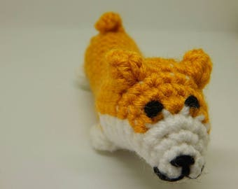 Corgi; Stuffed Baby Corgi; Handmade Miniature Corgi; Crocheted Puppy; Valentine's Day Gift; Gift for Her; Gift for Him; Ready to Ship