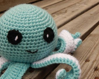Baby Octopus; Gift for Baby; Gender Neutral Baby Gift; Baby Shower; Cuddly Stuffed Animal; Plush Octopus; Blue Octopus; Ready to Ship