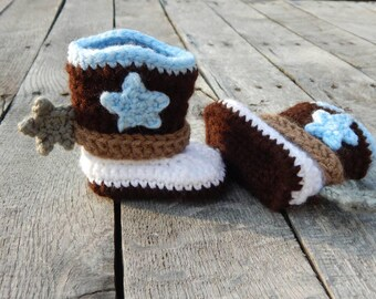 Newborn Cowboy Boots; Western Baby Booties; Crocheted Cowboy Boots; Baby Shoes with Spurs; Handmade by Anna