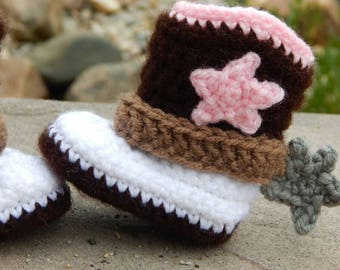 Newborn Cowgirl Boots; Western Baby Booties; Crocheted Cowboy Boots; Baby Shoes with Spurs; Handmade by Anna