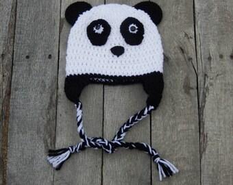Panda Hat; Crochet Children's Panda Hat; Earflap Hat; Gift for Panda Lover; Gift for Animal Lover; Baby Panda Hat