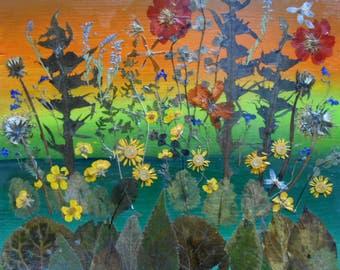 Pressed flower art, Pressed leaves art, pressed leaves collage on wooden panel, wall decor, botanical art, OOAK