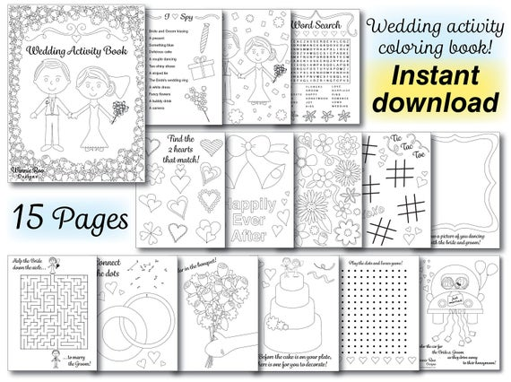 Wedding Kids Coloring Activity Book Wedding coloring book | Etsy