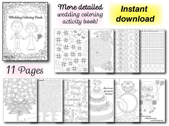More Detailed Wedding Coloring Activity Book Wedding coloring | Etsy