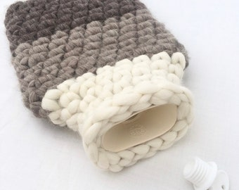 Softest British Wool Hot Water Bottle Cover - Natural Three Tone British Sheep Fleece- Grey & White - Chunky Wool  - 2ltr