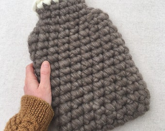 Natural Mid Grey British Wool Hotwater Bottle Cover - Natural Rubber Bottle - 2ltr