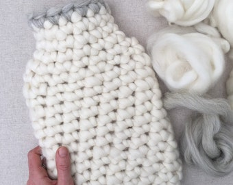 Natural Shetland Wool Hot Water Bottle Cover - 2ltr - Woollen Woolly