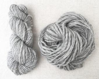 Super Bulky / Shetland Light Grey / Handspun Yarn Hank / British Wool / Neutral / Natural Yarn