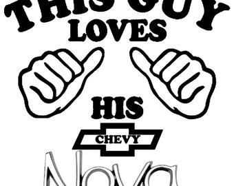 nova emblem etsy 72 Chevy Nova 4 Door pro nova design car shirtsthis guy loves his nova older emblem design