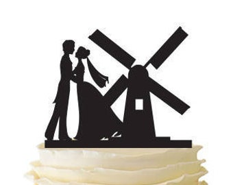 Dancing Couple With Windmill - Acrylic or Baltic Birch Wedding/Special Event Cake Topper - 166