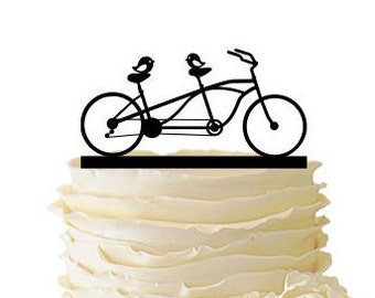 Love Birds On Tandem Bike - Acrylic or Baltic Birch Wedding/Special Event Cake Topper - 072