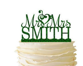 Glitter Mr. And Mrs. With Music Note Heart And Personalized With Your Name Acrylic Wedding/Special Event Cake Topper - 064