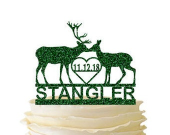 Glitter Kissing Deer with Name and Initials or Date - Buck And Doe -  Acrylic Wedding/Special Event Cake Topper - 096