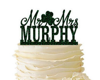 Glitter Mr. And Mrs. With Shamrock Personalized With Your Name Acrylic Wedding/Special Event Cake Topper - 170