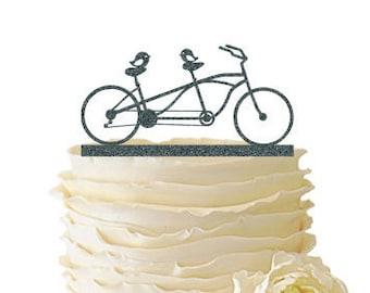 Glitter Love Birds On Tandem Bike - Acrylic Wedding/Special Event Cake Topper - 072