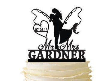 Groom Lifting Bride - Fishing Poles With Date or Initials and Last Name  - Standard Acrylic - Wedding - Fishing Cake Topper - 120