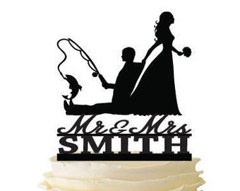 Mr. Mrs. with Bride Dragging Groom - Fishing Groom with Last Name  - Standard Acrylic - Wedding - Fishing Cake Topper - 122