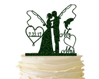 Glitter Bride and Groom With Fishing Poles With Initials or Date - Wedding - Anniversary - Fishing Cake Topper -  106