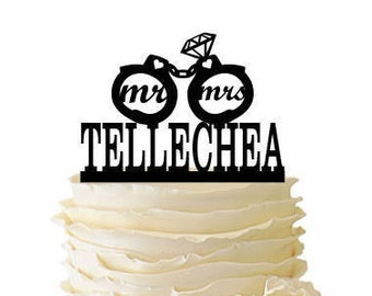 Mr. and Mrs. with Handcuffs with Diamond Personalized With Name - Wedding - Anniversary - Acrylic or Baltic Birch Cake Topper - 161