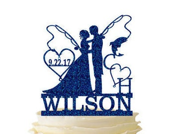 Glitter Bride and Groom With Fishing Poles With Initials and Date and Last Name - Wedding - Anniversary - Fishing Cake Topper -  163