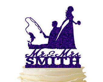 Glitter Bride Dragging Groom - Fishing Groom - With Last Name - Wedding - Anniversary - Fishing Cake Topper -  122