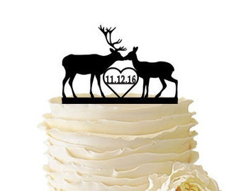 Kissing Deer With Date or Initials - Buck And Doe -  Acrylic or Baltic Birch Wedding/Special Event Cake Topper - 099