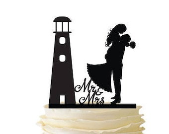 Lighthouse with Groom Lifting Bride - Standard Acrylic - Wedding - Anniversary - Engagement - 126