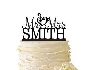 Mr. And Mrs. With Music Note Heart And Personalized With Your Name Acrylic or Baltic Birch Wedding/Special Event Cake Topper - 064