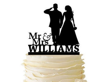 Mr. and Mrs. Saluting Soldier And Bride Personalized With Name - Wedding - Anniversary -  Standard Acrylic or Baltic Birch Cake Topper - 146