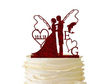 Glitter Bride and Groom With Fishing Poles With Initials and Date - Wedding - Anniversary - Fishing Cake Topper -  108