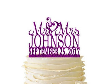 Glitter Mr. And Mrs. With Music Note Heart And Personalized With Your Name and Date Acrylic Wedding/Special Event Cake Topper - 133