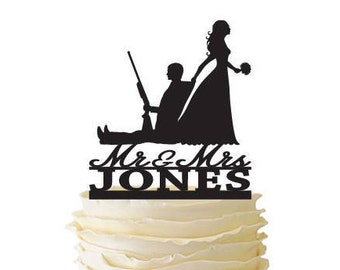 Mr. Mrs. with Bride Dragging Groom - Hunting Groom with Last Name  - Standard Acrylic - Wedding - 157