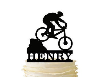 Mountain Biker With Name - Acrylic or Baltic Birch Special Event Cake Topper - 131