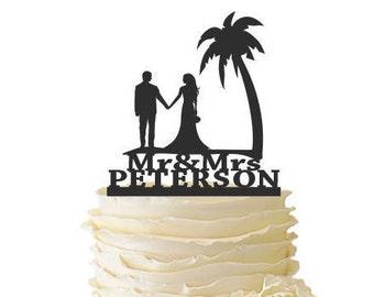 Beach Scene Bride and Groom with Last Name  - Standard Acrylic - Wedding - Anniversary - Destination Wedding - Beach Cake Topper - 144