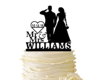 Wedding Military Engagement Silhouette Cake Topper
