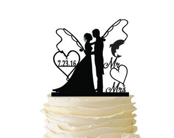 Mr. Mrs. with Bride and Groom - Fishing Poles With Date or Initials  - Standard Acrylic - Wedding - Anniversary - Fishing Cake Topper - 102