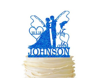 Glitter Bride and Groom With Fishing Poles With Initials or Date In Heart and Last Name - Wedding - Anniversary - Fishing Cake Topper -  107