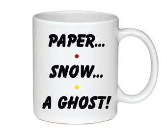 Paper...Snow...A Ghost! - Printed On Both Sides - Friends TV Show Coffee Mug - Joey - 014